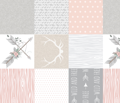 Wholecloth- BoHo Baby Girl Quilt - Rotated - Pink Grey Tan fabric by sugarpinedesign on Spoonflower - custom fabric