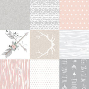 Wholecloth- BoHo Baby Girl Quilt - Rotated - Pink Grey Tan