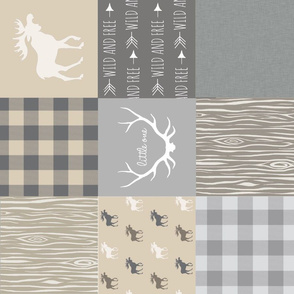 Rustic Woodland Wholecloth Patchwork Quilt - tan and grey - light linen texture  Rotated Moose