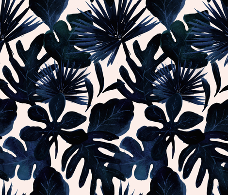 Tropical Leaves Midnight fabric by crystal_walen on Spoonflower - custom fabric