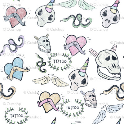 Tattoo skulls, hearts, wings and snakes