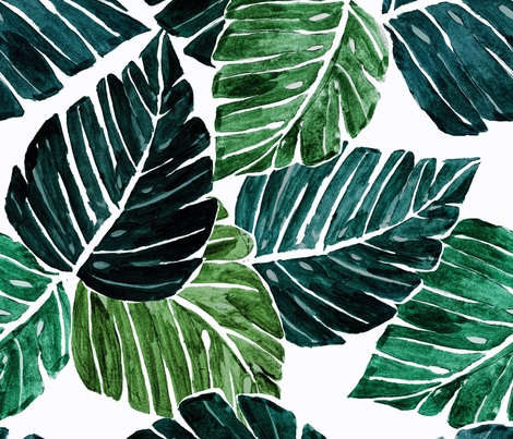 Monstera Leaves 90 degrees fabric by crystal_walen on Spoonflower - custom fabric