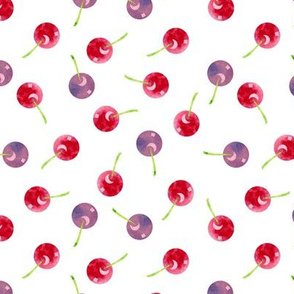 Scattered Cherries Watercolor on White