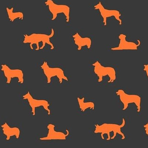 Sheepdogs Orange on Grey
