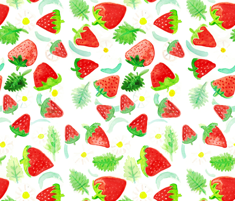 Strawberry Watercolor fabric by pixabo on Spoonflower - custom fabric