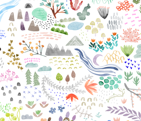 Watercolor Field - big fabric by katievernon on Spoonflower - custom fabric