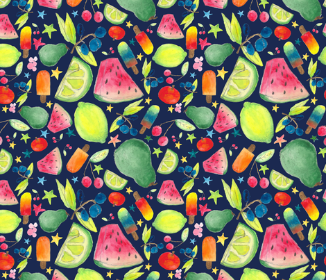 Fruity night popsicle fabric by snarky_sloth on Spoonflower - custom fabric