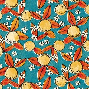 Vintage Lemons on Blue