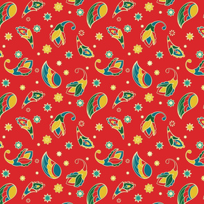 Red pattern with cartoon elements.