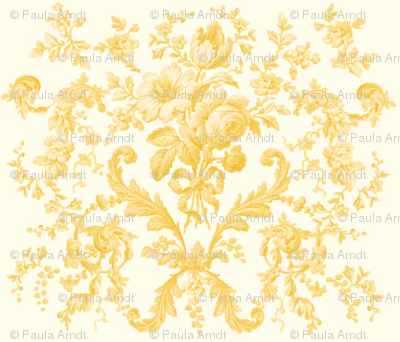Faded Rococo Roses buttercup