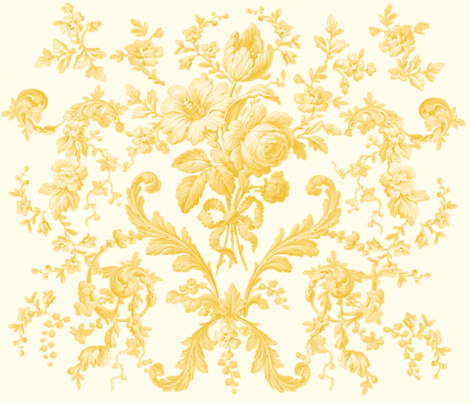 Faded Rococo Roses buttercup fabric by lilyoake on Spoonflower - custom fabric