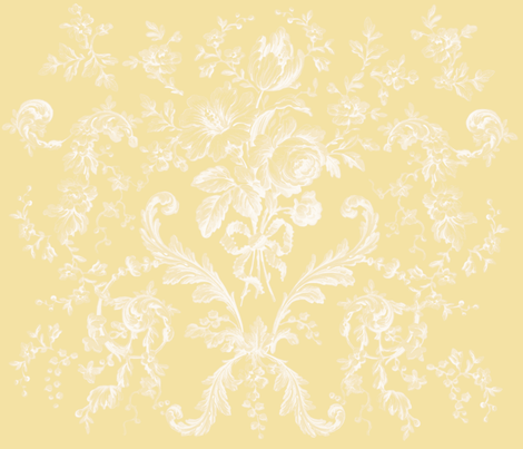 Faded Rococo Roses buttercup reversed fabric by lilyoake on Spoonflower - custom fabric