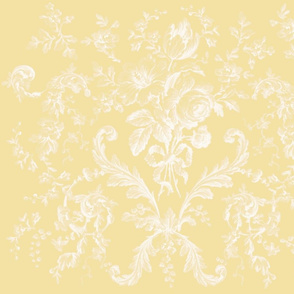 Faded Rococo Roses buttercup reversed