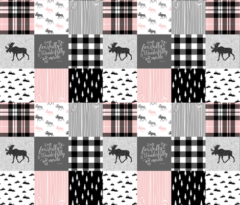Fearfully and Wonderfully Made - Moose Wholecloth (Pink, Grey, Black) fabric by littlearrowdesign on Spoonflower - custom fabric