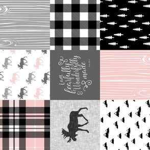 Fearfully and Wonderfully Made (90) - Moose Wholecloth (Pink, Grey, Black)