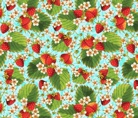 Watercolour Strawberries on aqua fabric by patriciasheadesigns on Spoonflower - custom fabric