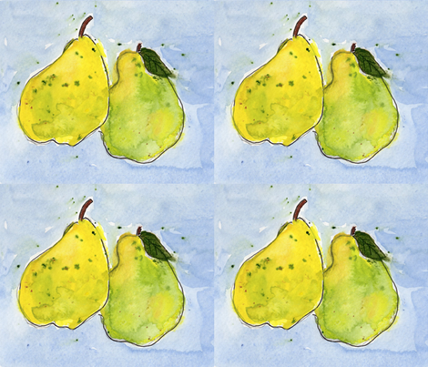 Perfect pairs of pears fabric by painter_poyet on Spoonflower - custom fabric