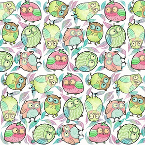 Fruity Owls in Small Print