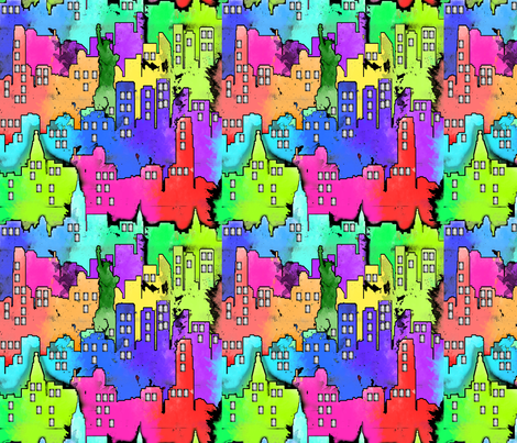 City WaterColor fabric by lanrete58 on Spoonflower - custom fabric