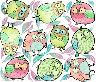Fruity Owls in Large Print