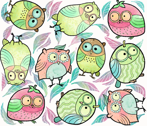 Fruity Owls in Large Print fabric by pinkowlet on Spoonflower - custom fabric