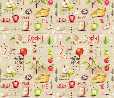 An Apple a Day fabric by mulberry_tree on Spoonflower - custom fabric
