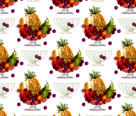 Fruit Baskets and the grape escape! fabric by retrorudolphs on Spoonflower - custom fabric