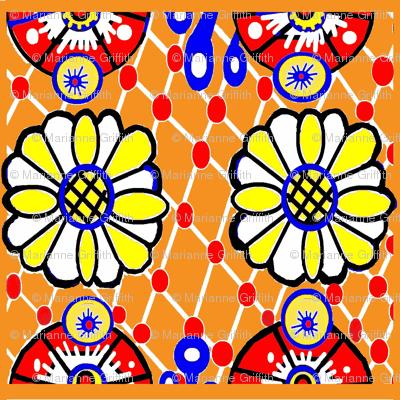 Talavera Daisy  Orange Tile