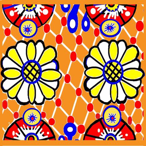 Talavera Daisy  Orange Tile fabric by feralartist on Spoonflower - custom fabric