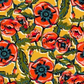 Orange Poppies on Yellow
