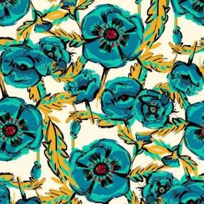 Blue Poppies on Cream