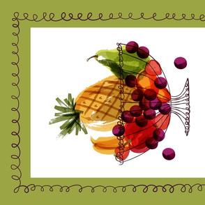 Fruit Baskets and the grape escape! ~ Tea Towel