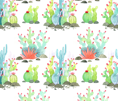Prickly Pear: Fruit of the desert fabric by vo_aka_virginiao on Spoonflower - custom fabric