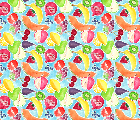 Fruit Medley Watercolor with Blue Background fabric by theplumgrove on Spoonflower - custom fabric