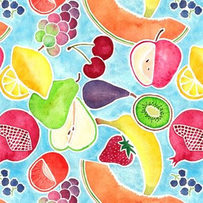 Fruit Medley Watercolor with Blue Background