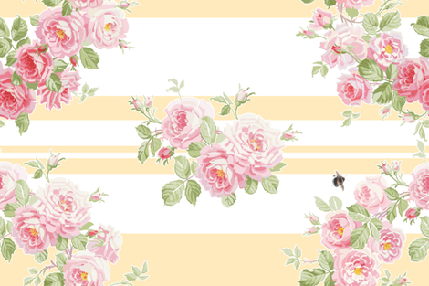 May Day  Summer Roses buttercup stripe fabric by lilyoake on Spoonflower - custom fabric