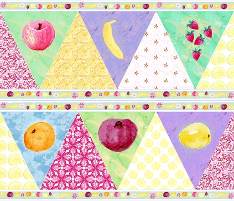 Watercolor_Fruit_Banner_A fabric by khowardquilts on Spoonflower - custom fabric