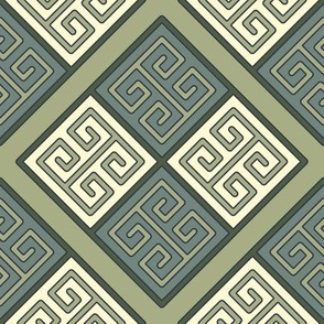 Bayeux Greek Key Green and Linen