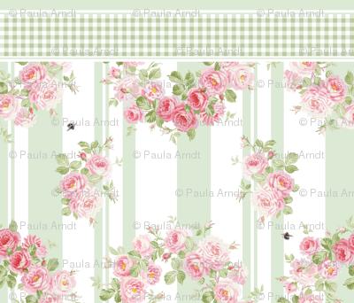 May Day Summer Roses basil stripe pillowcase
