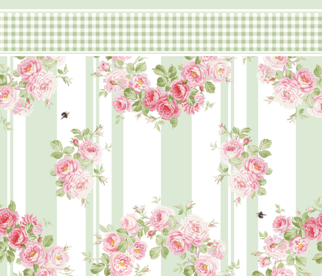 May Day Summer Roses basil stripe pillowcase  fabric by lilyoake on Spoonflower - custom fabric