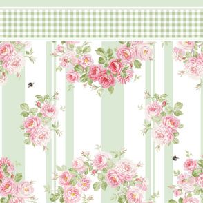 May Day Summer Roses basil stripe pillowcase