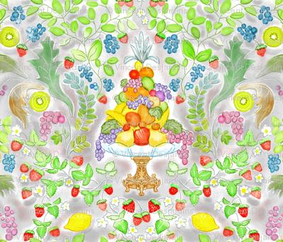Watercolor Fruit Victorian Style giftwrap vinpauld