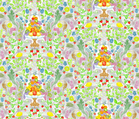 Watercolor Fruit Victorian Style fabric by vinpauld on Spoonflower - custom fabric