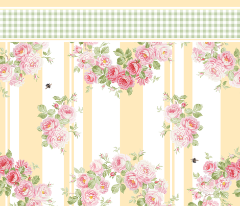 May Day Summer Roses buttercup Pillowcase fabric by lilyoake on Spoonflower - custom fabric