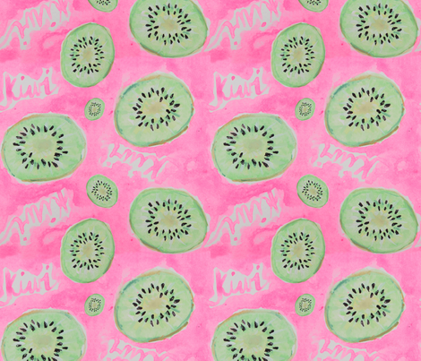 Watercolor Kiwi Slices in Neon Pink Punch fabric by elliottdesignfactory on Spoonflower - custom fabric