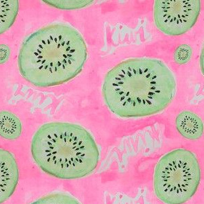 Watercolor Kiwi Slices in Neon Pink Punch