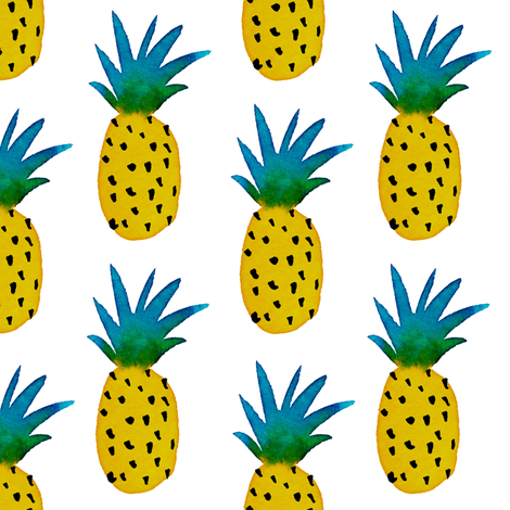 watercolor pineapples fabric by mirabelleprint on Spoonflower - custom fabric