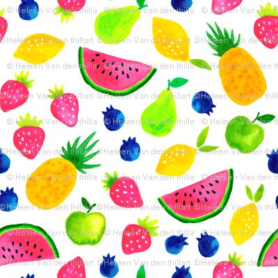 Sweet watercolor summer fruit mix