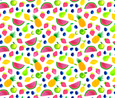 Sweet watercolor summer fruit mix fabric by heleen_vd_thillart on Spoonflower - custom fabric
