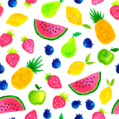 Sweet watercolor summer fruit mix